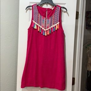 Hot pink entro dress with tassel detail